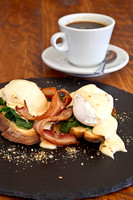 Eggs Florentine with bacon and coffee